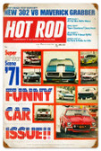 Vintage-Retro Hot Rod Magazine Funny Cars Metal-Tin Sign