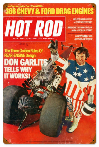 Vintage-Retro Hot Rod Magazine Garlits May 1971 Metal-Tin Sign