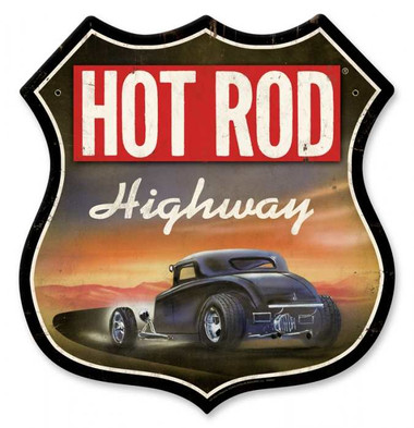 Vintage-Retro Hot Rod Magazine Highway Metal-Tin Sign