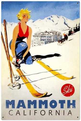 Vintage-Retro Ski Mammoth Metal-Tin Sign LARGE