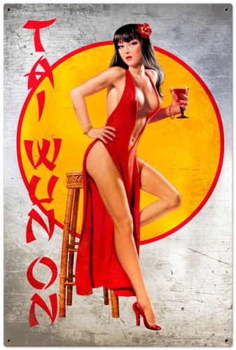 Vintage-Retro Tai Wun On - Pin-Up Girl Metal Sign -  LARGE