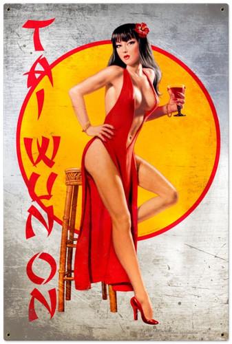 Vintage-Retro Tai Wun On - Pin-Up Girl Metal Sign -  LARGE