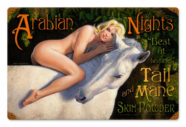 Vintage-Retro Arabian Nights - Pin-Up Girl Metal Sign -
