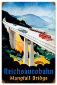 Vintage-Retro Reichsautobahn Bridge Tin-Metal Sign