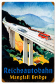 Vintage-Retro Reichsautobahn Bridge Tin-Metal Sign