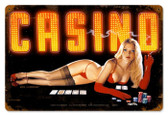 Vintage-Retro Red Light Casino Metal-Tin Sign