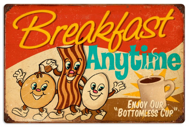 Vintage-Retro Breakfast Tin-Metal Sign