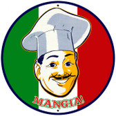 Vintage-Retro Mangia Tin-Metal Sign LARGE
