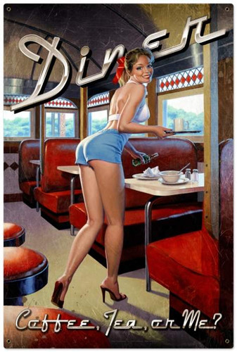 Vintage-Retro Diner - Pin-Up Girl Metal Sign -  LARGE