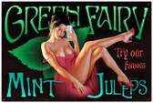 Vintage-Retro Green Fairy - Pin-Up Girl Metal Sign -  LARGE