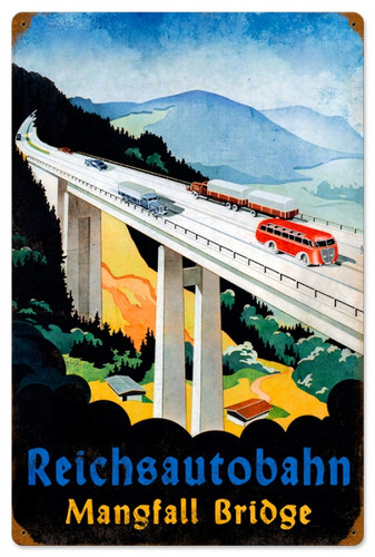 Vintage-Retro Reichsautobahn Metal-Tin Sign 16 x 24 Inches