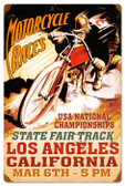 Vintage-Retro LA Motorcycle Races Metal-Tin Sign 16 x 24 Inches