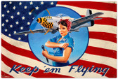 Vintage-Retro Keep Em Flying Metal-Tin Sign