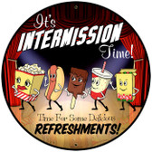 Vintage Snacks Intermission Time Metal Sign