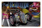 Vintage Rat Rod Ratitude Metal Sign
