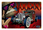 Vintage Rat Rod Voodoo Metal Sign