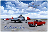 Vintage T Birds 36 x 24 Inches Metal Sign