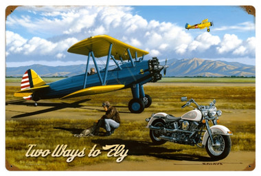 Vintage Two Ways to Fly 24 x 16 Inches Metal Sign