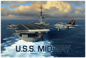 Vintage USS Midway 36 x 24 Inches Metal Sign