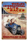 Vintage Metal Sign World Races 12 x 18 Inches