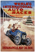 Vintage Metal Sign World Races 36 x 24 Inches