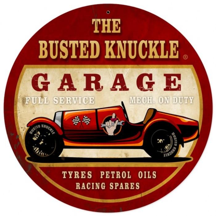 Vintage Car Signs : Vintage old race car tin sign