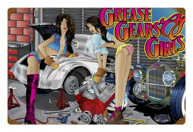 Vintage  Girls, Gears, Grease Metal Sign