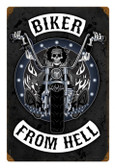 Retro Biker From Hell Metal Sign