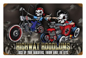 Retro Highway Hoodlums Metal Sign