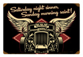 Vintage Saturday Night Sinner Metal Sign