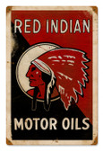 Vintage Red Indian Oil 12 x 18 inches Tin Sign