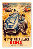 Vintage Reims Grand Prix 12 x 18 inches Tin Sign