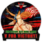 Vintage-Retro V for Victory Round Banner Metal-Tin Sign
