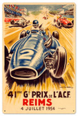 Vintage Reims Grand Prix 24 x 16 inches Tin Sign