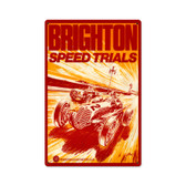 Vintage Brighton Speed Trials Metal Sign 12 x 18 Inches Inches