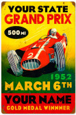 Vintage Grand Prix Metal Sign 16 x 24 Inches - Personalized