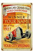 Vintage American Grand Prix Metal Sign 16 x 24 Inches Inches