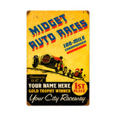 Vintage Midget Races Metal Sign 16 x 24 Inches Inches