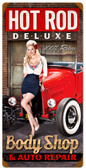 Retro Body Shop Tin Sign 12 x 24 Inches