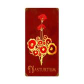 Retro Nasturtium Tin Sign 12 x 24 Inches
