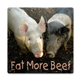 Vintage Eat More Beef Tin Sign 12 x 12 Inches