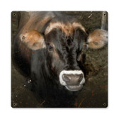 Vintage Cow Face Tin Sign 12 x 12 Inches
