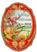 Vintage Savon Fleurs Tin Sign 8 x 10 Inches