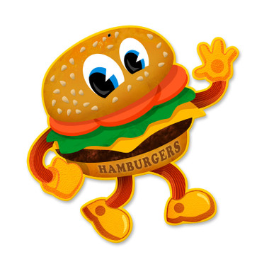 Vintage Hamburger Tin Sign 12 x 12 Inches