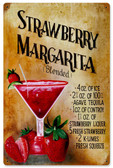 Vintage Strawberry Margaritia Tin Sign 12 x 18 Inches