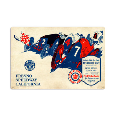 Retro Fresno Speedway Tin Sign 24 x 16 Inches