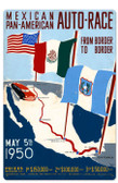 Retro Mexican Auto Race Tin Sign 16 x 24 Inches