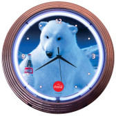 Retro COCA-COLA® POLAR BEAR NEON CLOCK 15 x 15 Inches