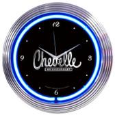 Retro CHEVELLE NEON CLOCK 15 x 15 Inches