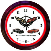 Retro CORVETTE C5 NEON CLOCK 15 x 15 Inches